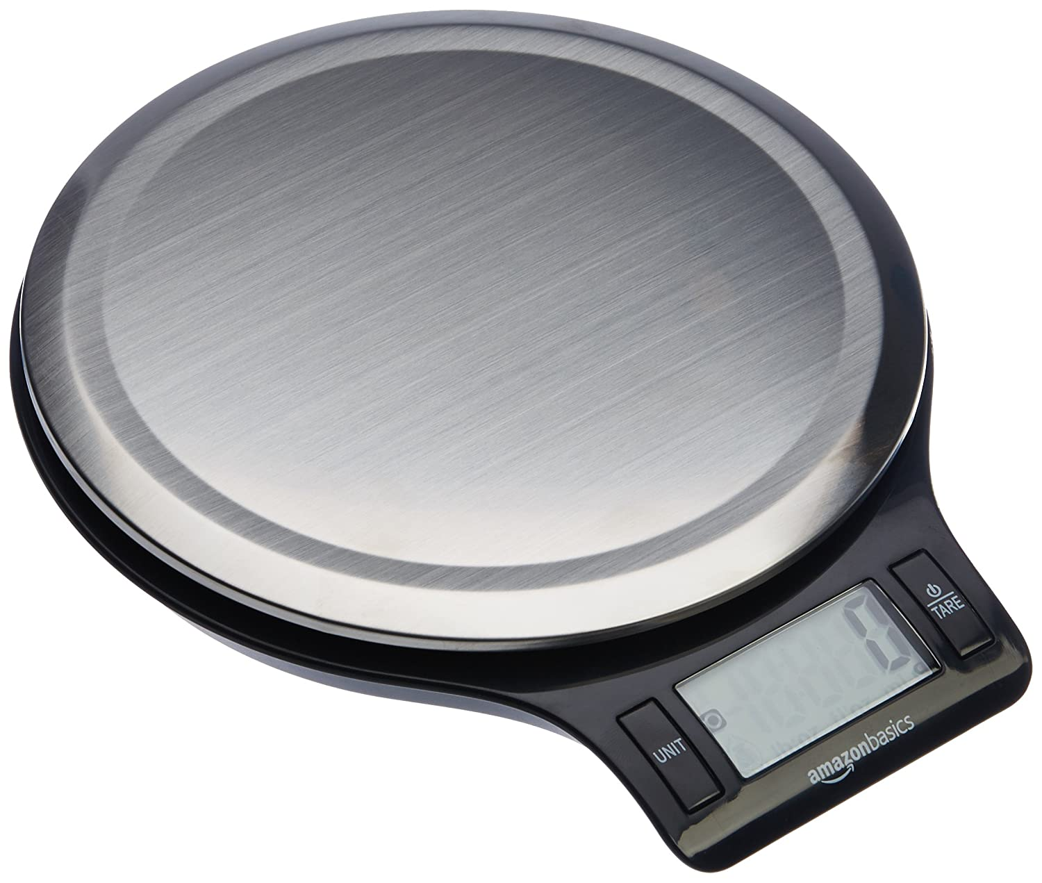 AmazonBasics Stainless Steel Digital Kitchen Scale with LCD Display (Batteries Included) EK3211