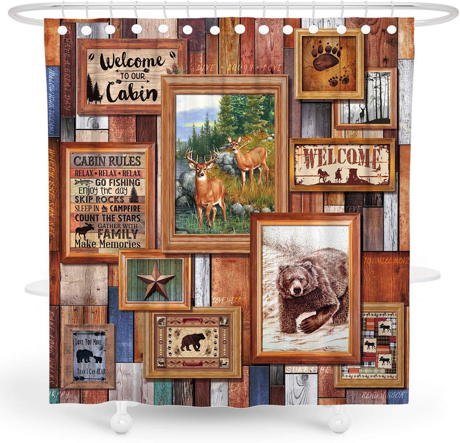 DESIHOM Brown Cabin Shower Curtain Primitive Rustic Shower Curtain Wood Country Shower Curtain Deer Bear Bathroom Decor Polyester Waterproof Shower Curtain 72x72 Inch