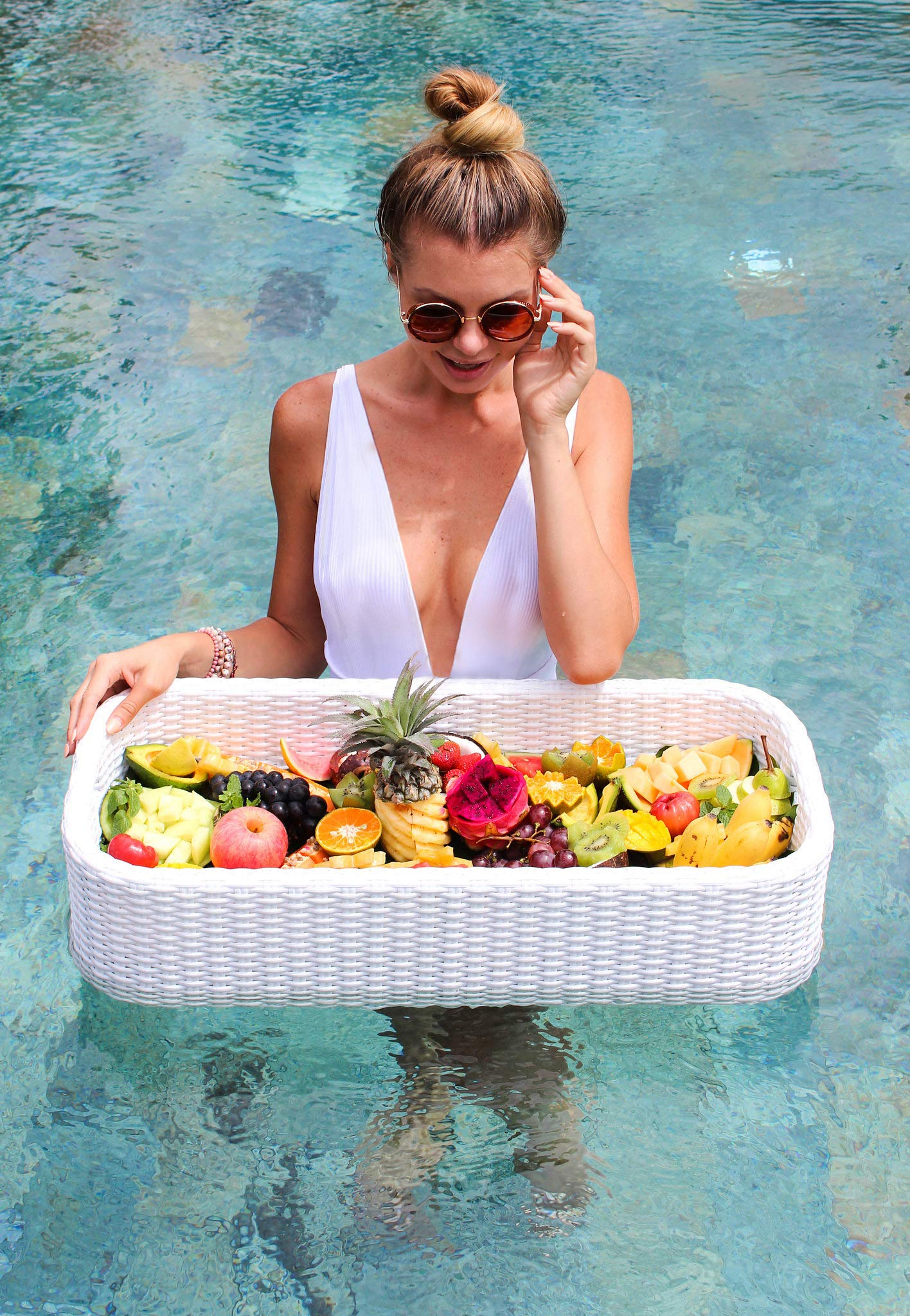 Floating Tray Luxury Floating Serving Tray Table & Bar - Swimming Pool Floats for Adults for Sandbars, Spas, Bath, & Parties - Floating Tray for Pool Serving Drinks, Brunch, Food on the Water - White