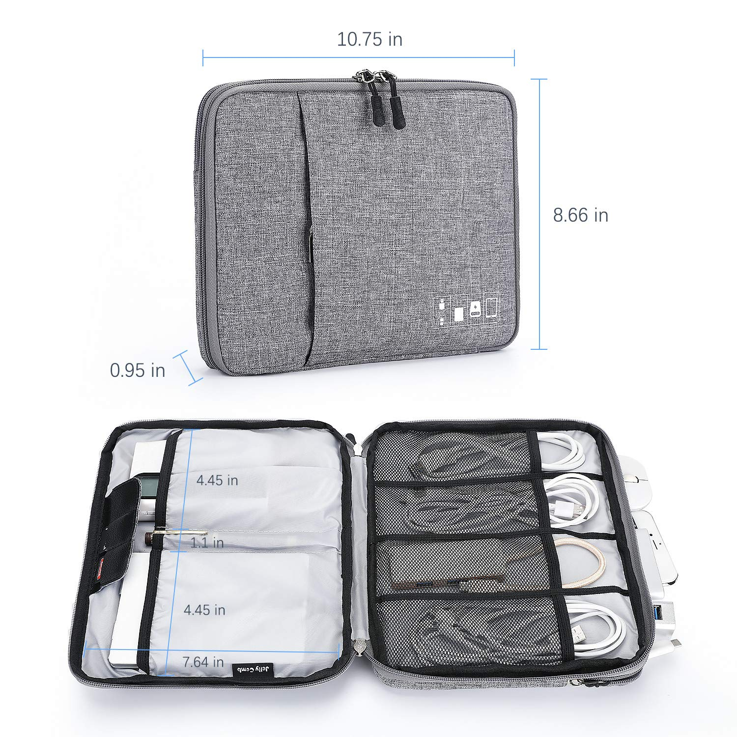 Up to 11 and More- Power Bank Jelly Comb Electronics Organizer Travel Accessories Cord Organizer Cable Storage Bag for Charging Cable Cable Organizer Bag Black Tablet