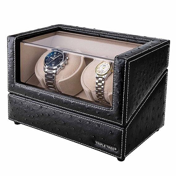 Doble Reloj devanadera -Estuche bobinadora para 2 Relojes, en Concha de Madera y Cuero Negro, Motor japonés, Ajuste de 4 Modos de rotación, Ajuste ...