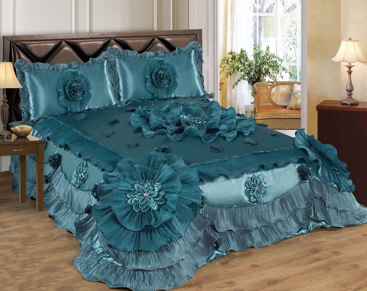 brown chezmoi pieces home sets star amazon western set coffee microsuede embroidery com design bedding x oversized comforter dp collection queen