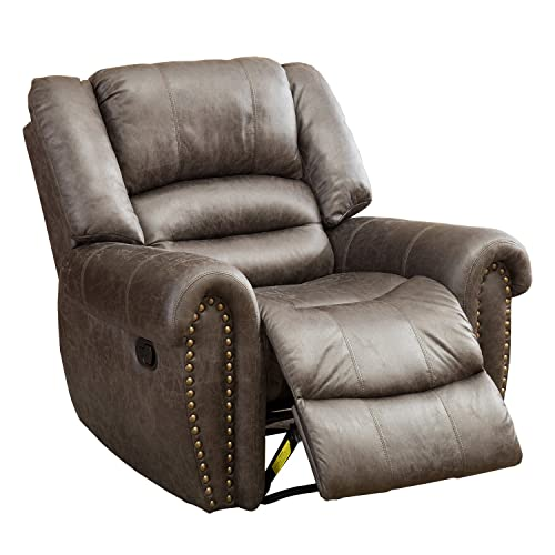 BONZY Oversized Recliner Leather Lounge Chair