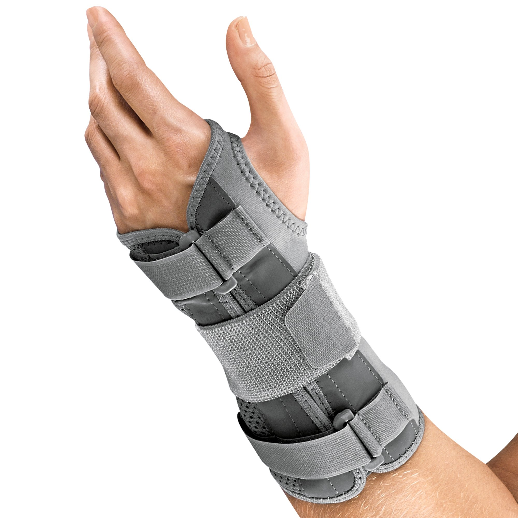 Futuro Deluxe Wrist Stabilizer, Eases Symptoms of Carpal Tunnel Syndrome, Improves Stability, Firm Stabilizing Support, Right Hand, Small/Medium, Gray