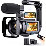 4K Video Camera Camcorder, Vlogging Camera for YouTube with Microphone, Digital Camera Remote Control and Touch Screen,Night