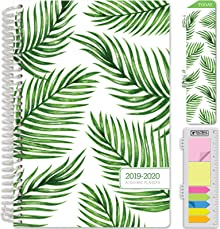 """HARDCOVER Academic Planner 2019-2020: (June 2019 Through July 2020) 5.5""""x8"""" Daily Weekly Monthly Planner Yearly Agenda. Bonus Bookmark, Pocket Folder and Sticky Note Set (Palm Trees)"""