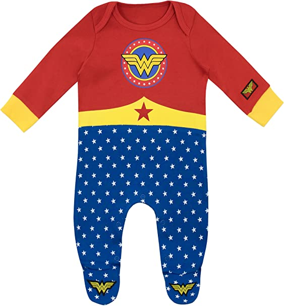 DC Comics Wonder Woman Baby Girls Costume Coverall with Cape Red 0-3M