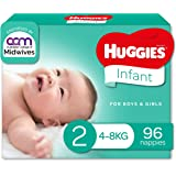 HUGGIES Ultimate Infant Nappies, Unisex, (4-8kg), Size 2, 96 count