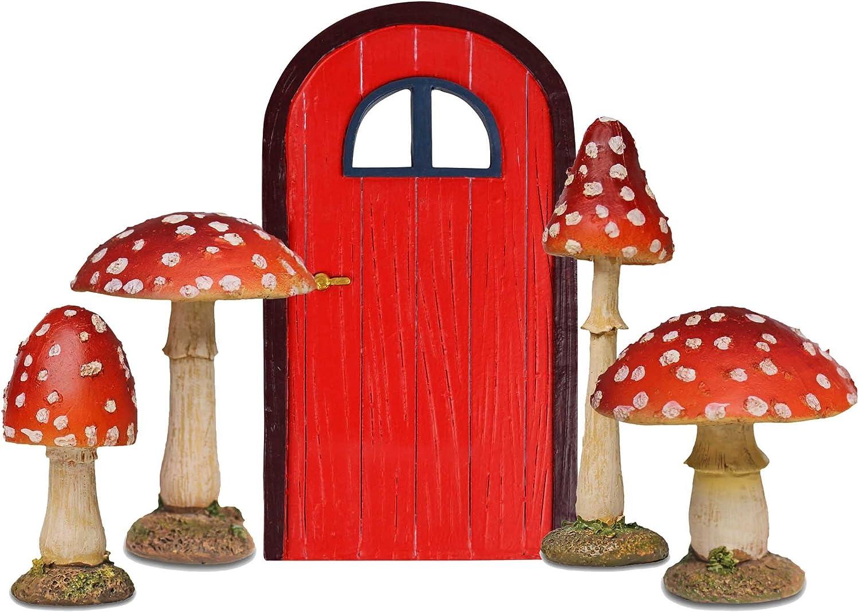 Jardín de hadas Starter Set – 4 Rojo Seta setas decorativas y puerta de hadas rojo: Amazon.es: Jardín