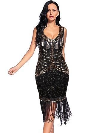 Flapper Girl Vestido Noche Para Mujer Dorado Negro Y