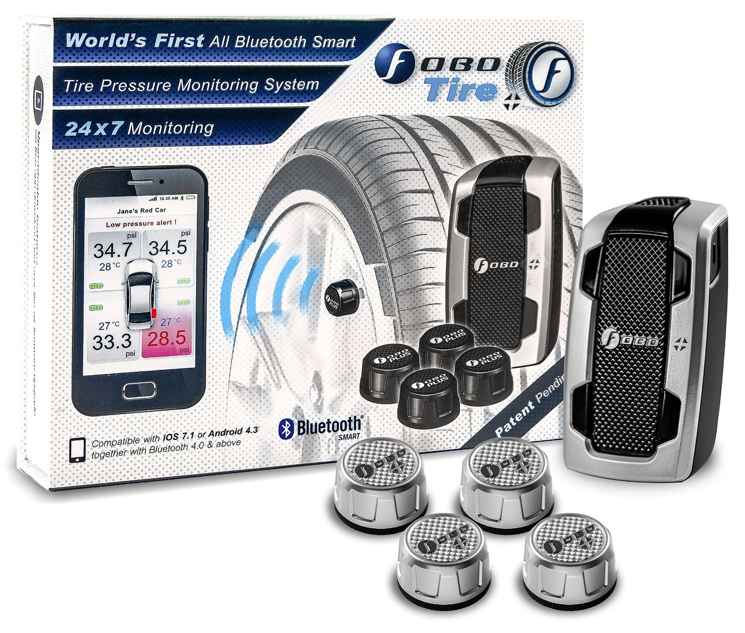 FOBO CAR TIRE BLUETOOTH TIRE PRESSURE MONITORING KIT SILVER FP1628