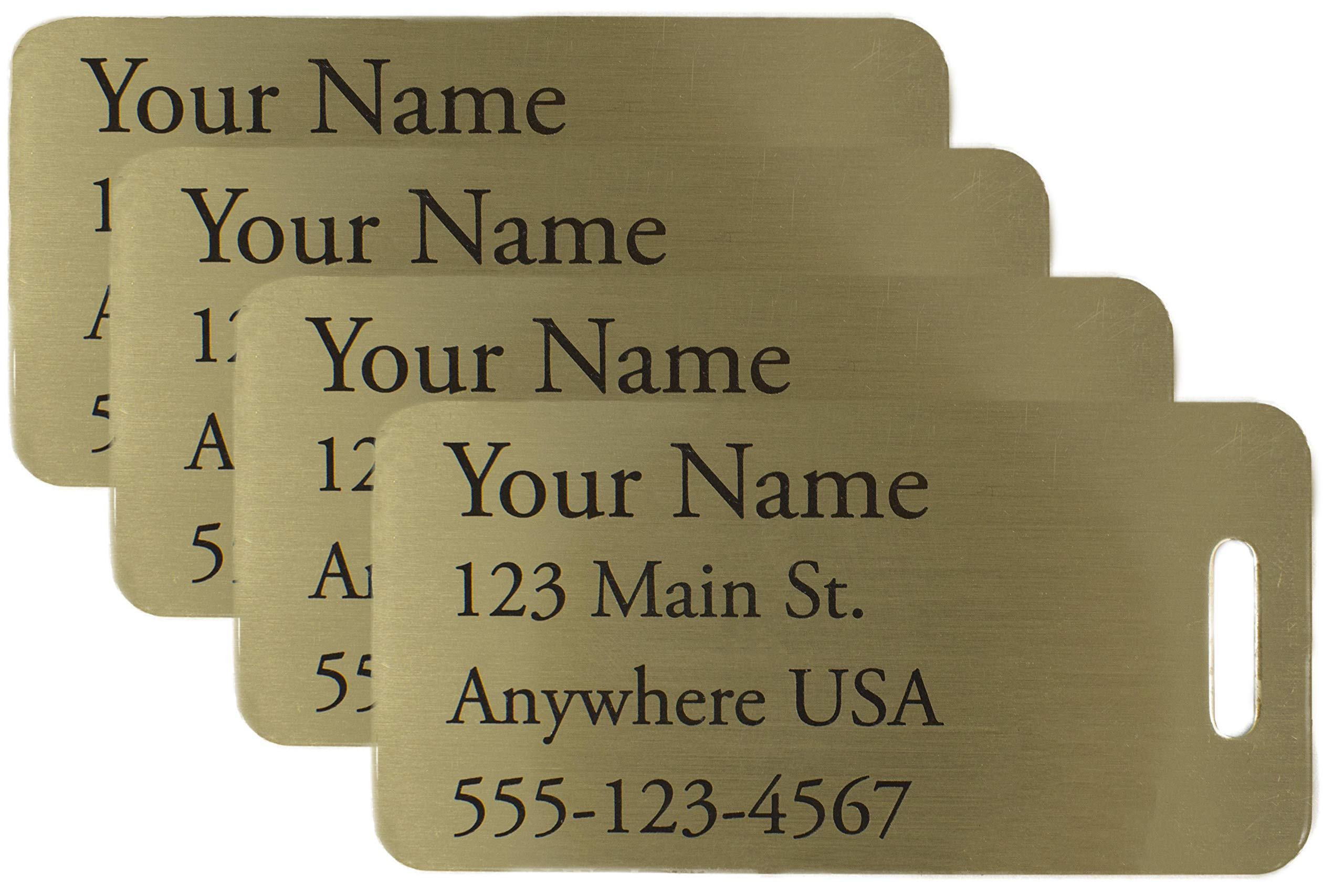 Deeply Engraved Custom Metal Luggage Tags (Four, Small Brass) by Generic