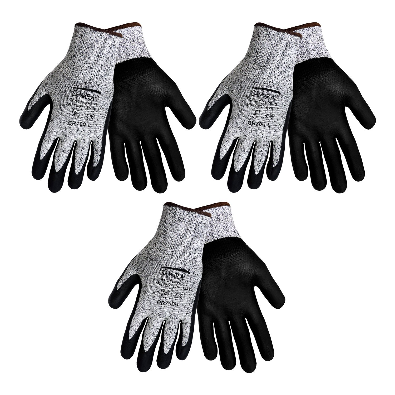 3 Pack Samurai CR700 Cut Resistant Nitrile Coated Work Gloves, Salt and pepper Tuffalene® brand HDPE shell and Premium Nitrile Coated Foam Grip on Palm & Fingers. Sizes S-XL (Medium)