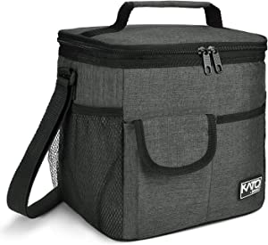 Large Insulated Lunch Bag for Women Men, 10L Leakproof Thermal Reusable Lunch Box for Adult & Kids, Tall Meal Prep Lunch Cooler Tote with Pockets for Office Work by Tirrinia, Charcoal