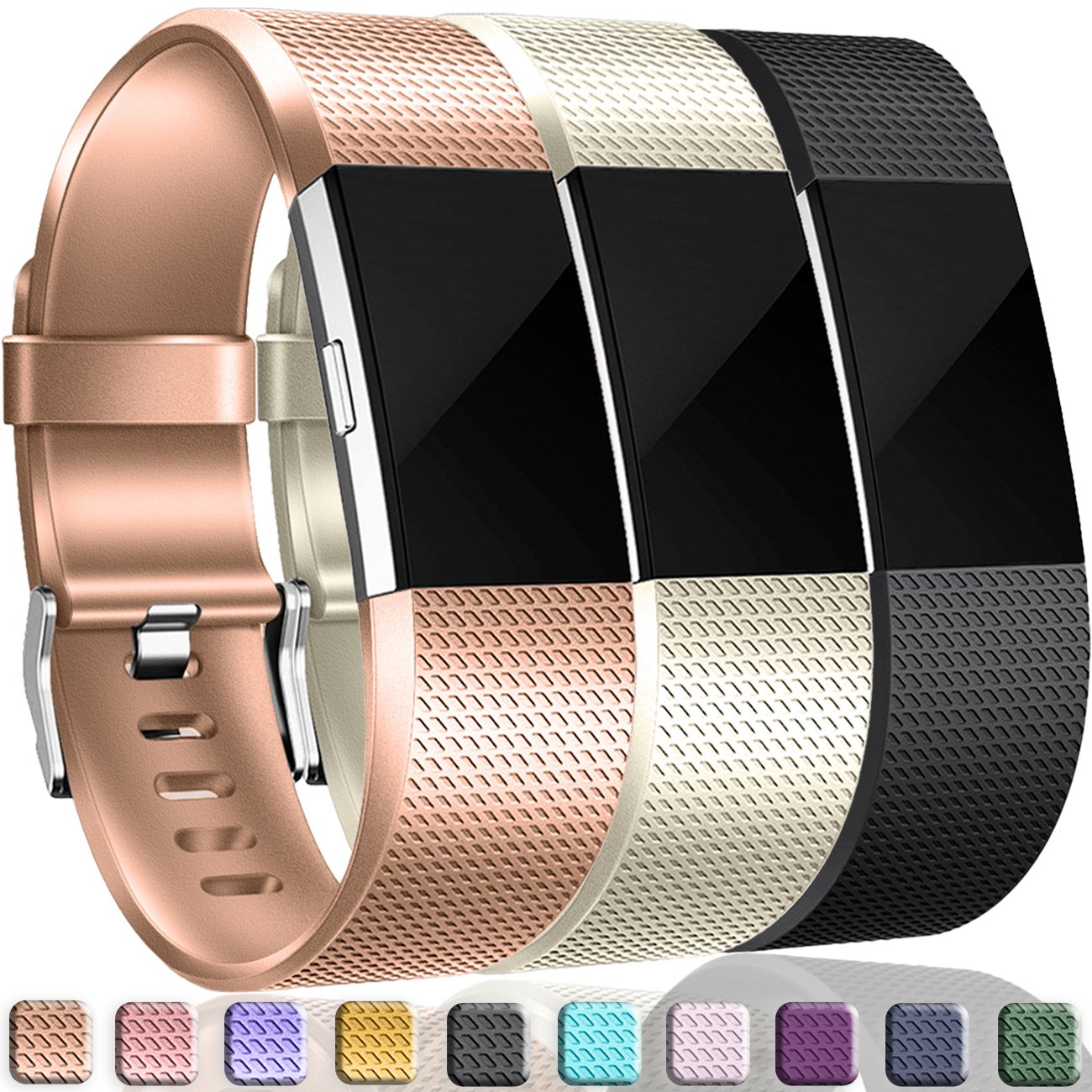 Wepro Fitbit Charge 2バンド、交換用for Fitbit Charge HR、バックル、15色、S、L 2 Large|#02-Champagne+Rose Gold+Black Colors #02-Champagne+Rose Gold+Black Colors Large B07CH8N6NR