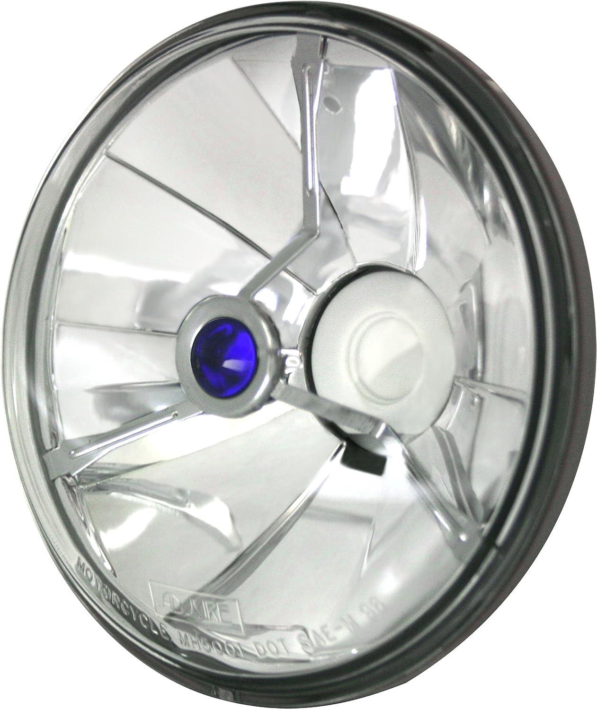 Adjure T50704 5-3//4 Pie Cut Black Dot Tri-Bar Motorcycle Headlight with H4 Bulb