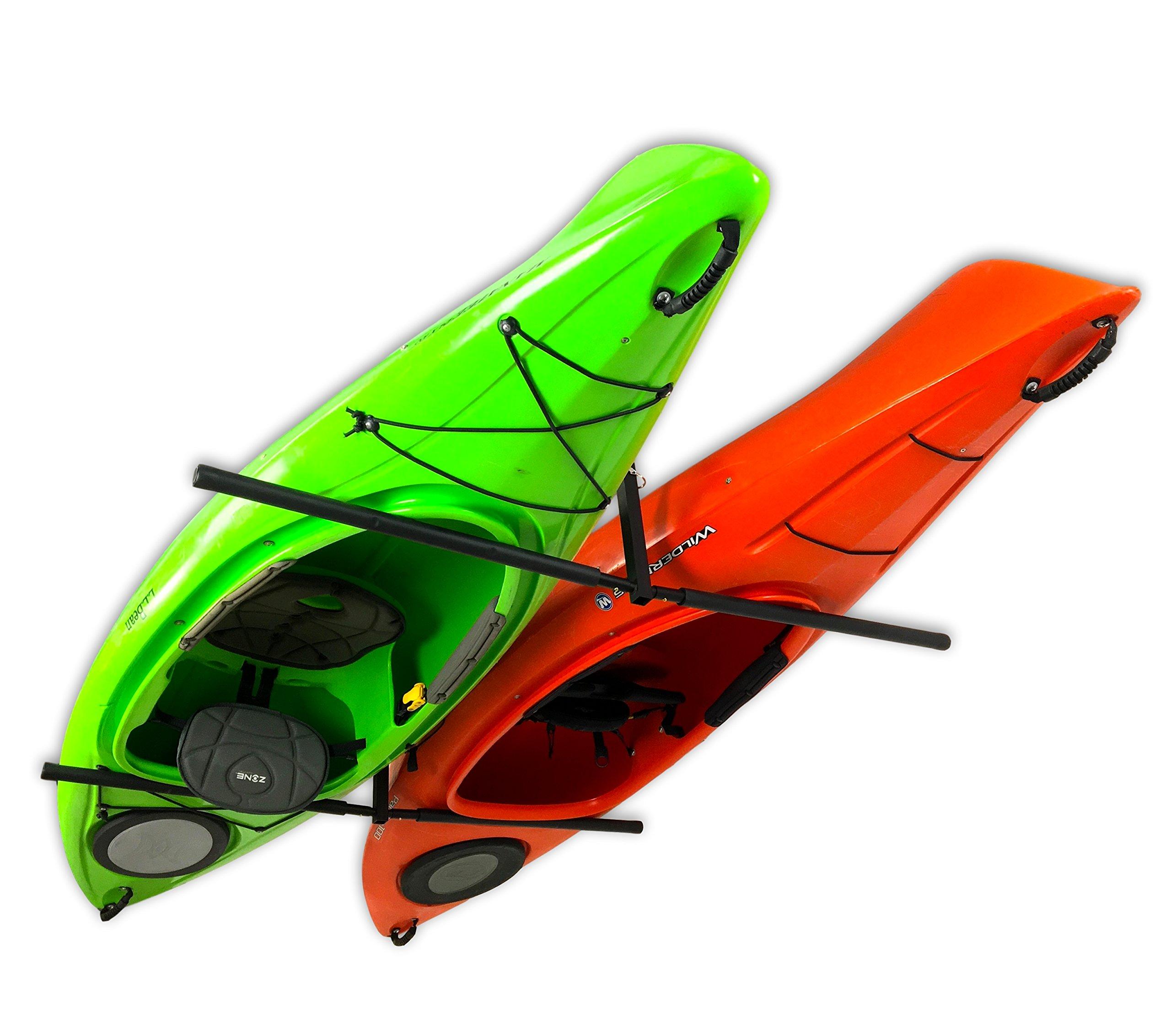StoreYourBoard 2 Kayak Ceiling Rack, Hi Port 2 Storage Hanger Overhead Mount, Adjustable, Extra Large 30 Inch Arms by StoreYourBoard