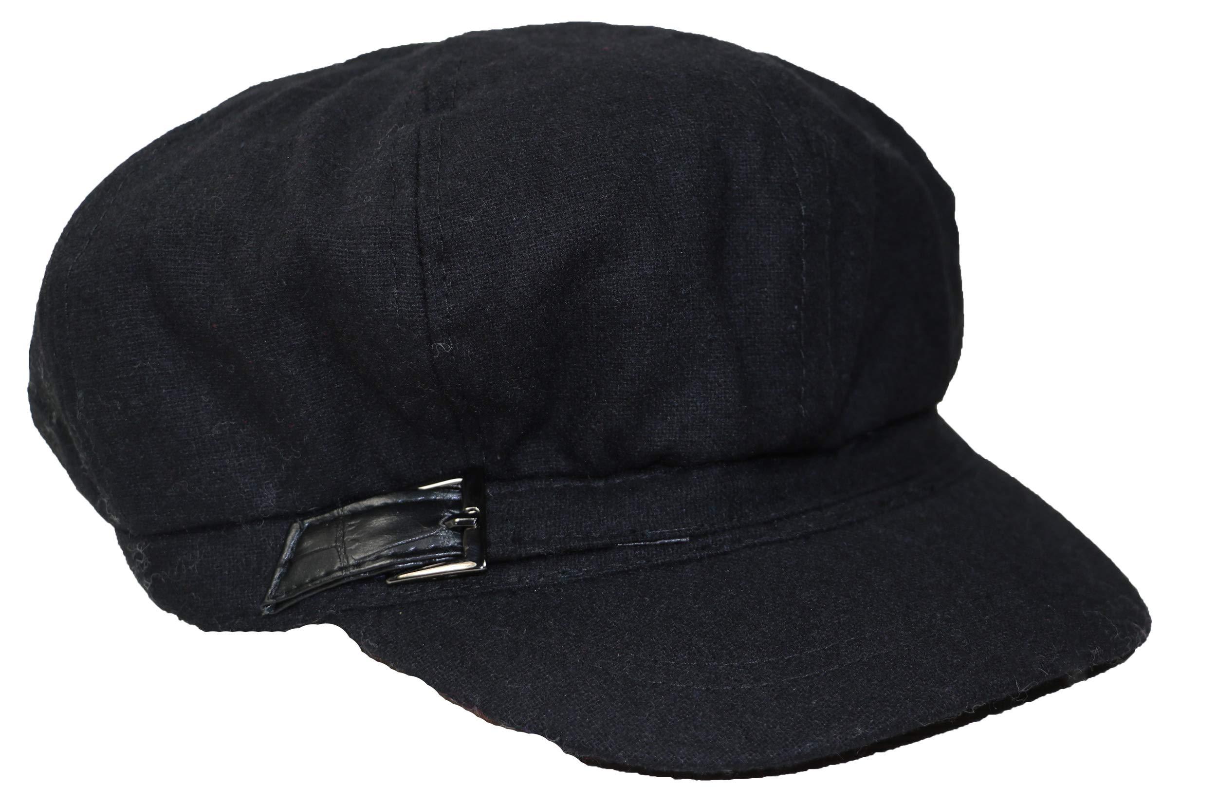 Nine West Women's Croco-Buckle Newsboy Hat, Black