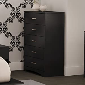 South Shore Step One Chest & 5-Piece Drawer Organizers-Pure Black and Beige
