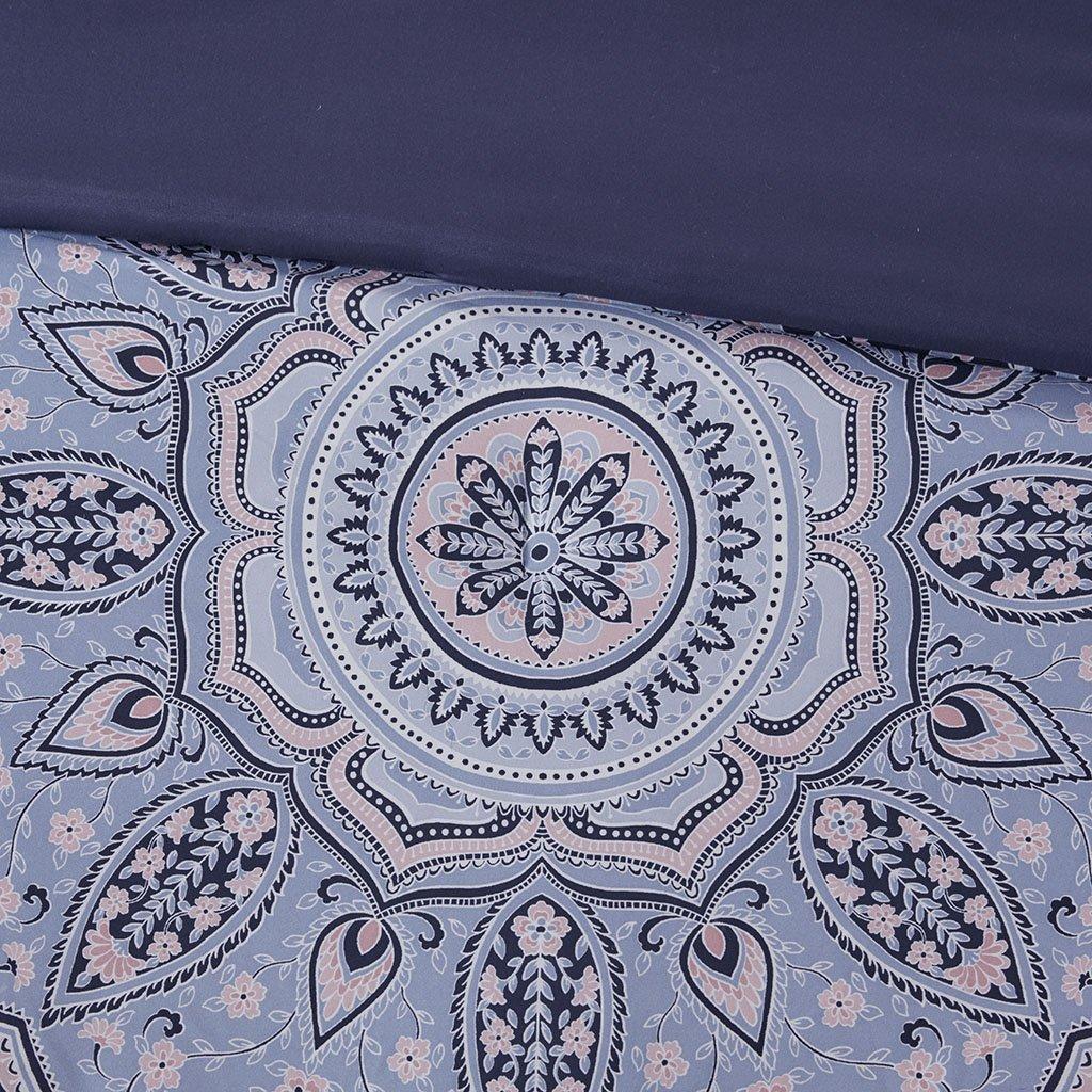 Intelligent Design Odette 5 Pieces Boho Printed Solid Microfiber Comforter Set Bedding Blue Full//Queen Size