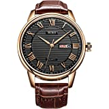 BUREI Classic Day and Date Mens Watches in Roman Numerals with Brown Leather Strap and Black Dial Gifts for Men