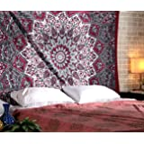 psychedelic beach blanket tapestry indian cotton wall hanging red home decorative bohemian hippy. Black Bedroom Furniture Sets. Home Design Ideas