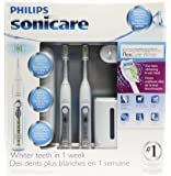 Philips Sonicare FlexCare White (Premium Whitening Edition) HX6962/73- 2 Pack Combo (2 Rechargeable toothbrushes, 2 DiamondClean brush heads, 1 UV sanitizer and charger, 1 travel charger, 2 travel cases)