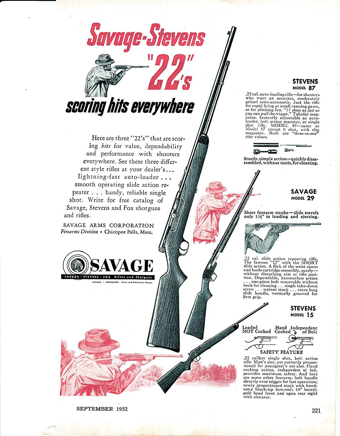Amazon com : 1952 Savage Rifles -Three 22s-Models 87-29-15 -Auto