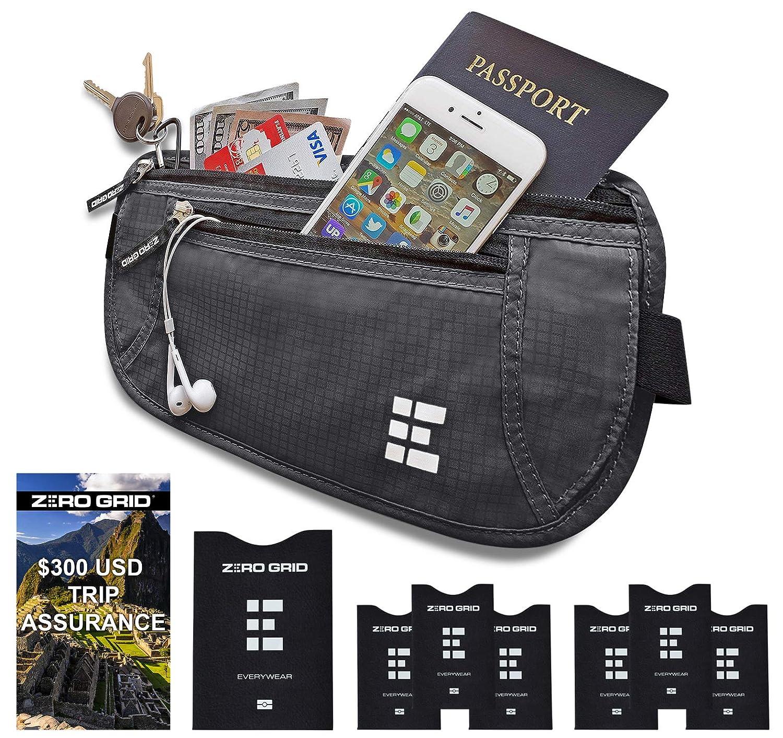 Cinturón de Viaje para Dinero con Bloqueo RFID - Cartera para Documentos y Portapasaporte (Shadow Grey)