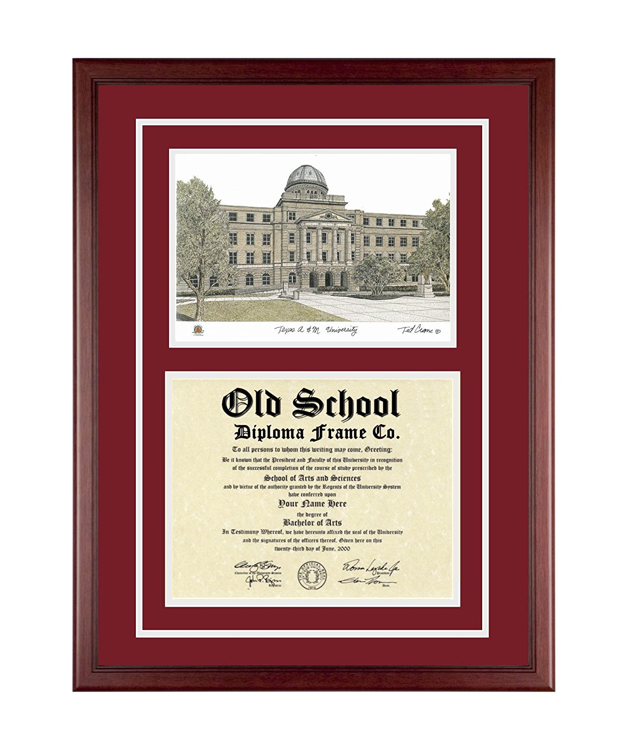 Amazon.com: TEXAS A&M Diploma Frame with Artwork in Standard Black ...