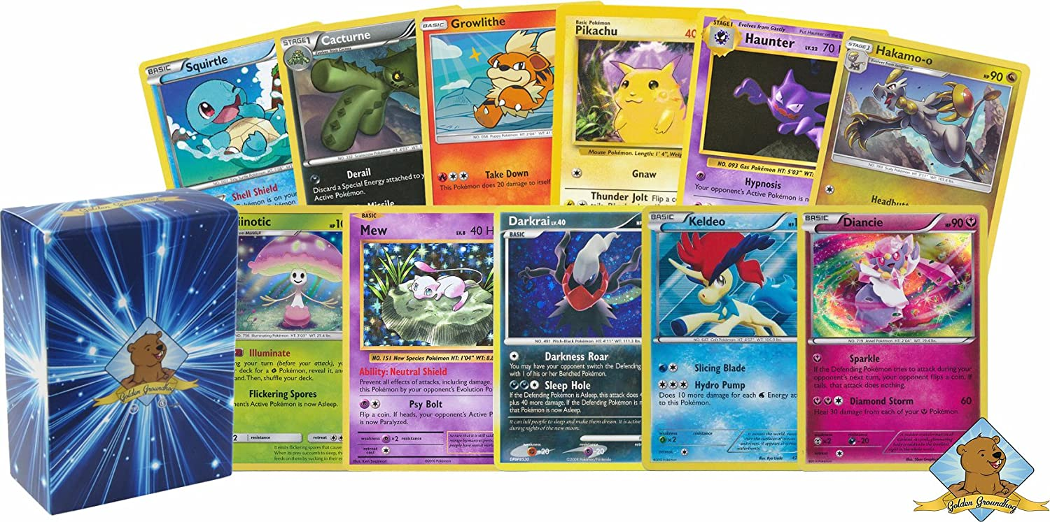 100 Pokemon Cards with 5 Holo Rares! Includes Golden Groundhog Deck Box!
