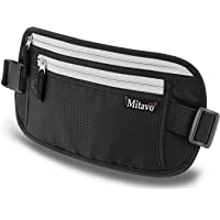 Mitavo flat travel money belt with RFID blocking, waterproof and breathable travel waist money pouch/ running belt suitable for all iPhone and Samsung smart phones, in black, unisex
