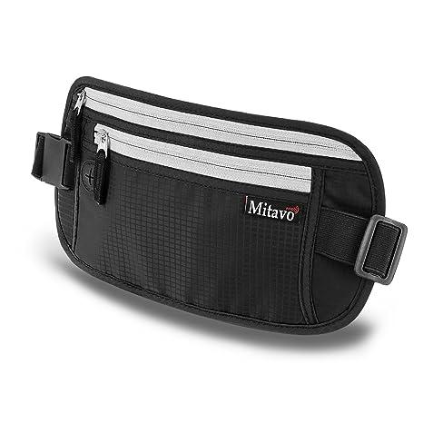 675f3c9673 Mitavo marsupio da viaggio piatto con protezione RFID, impermeabile e  traspirante, cintura nascosta portasoldi