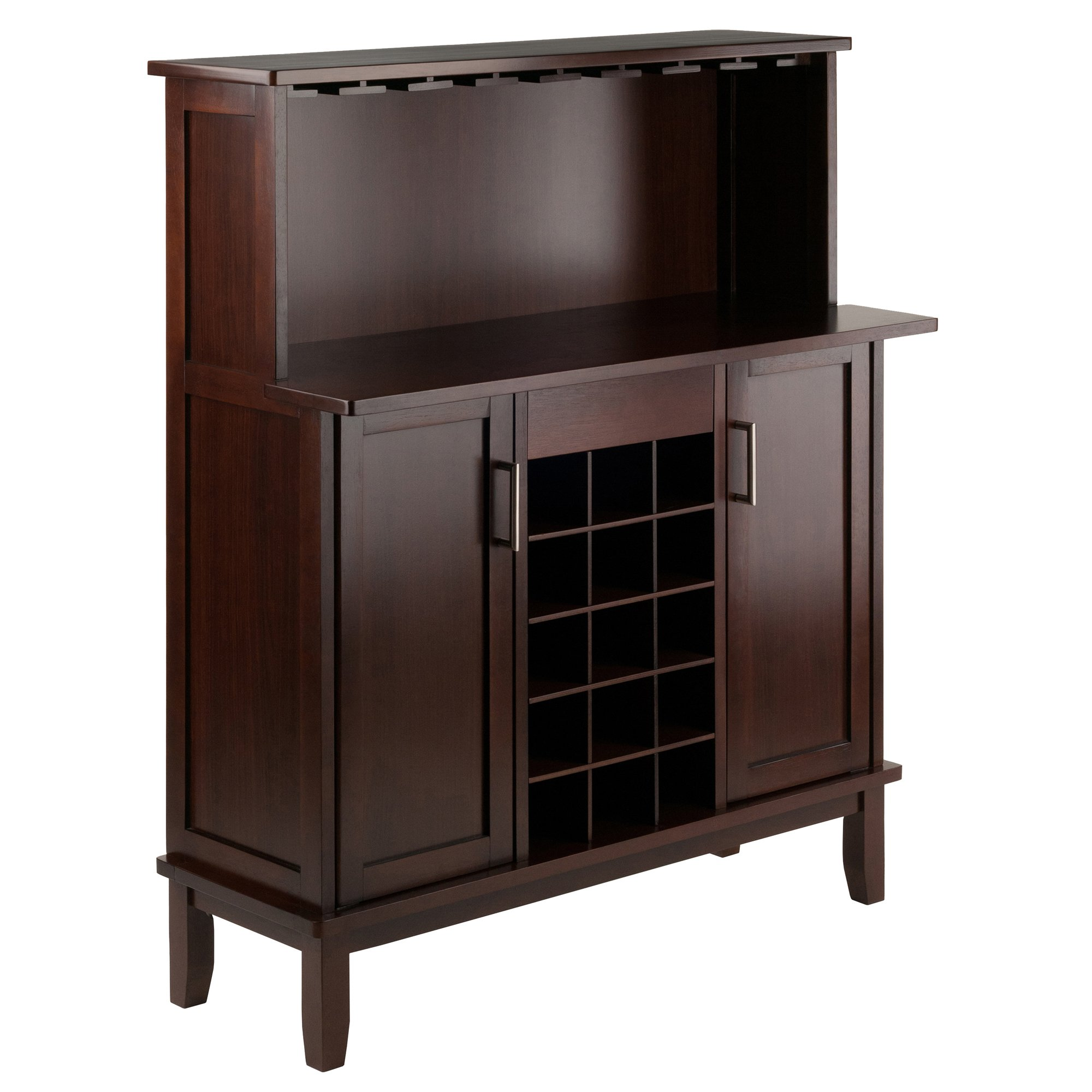 Winsome 40339 Beynac Bar Cappuccino Wine Cabinet by Winsome