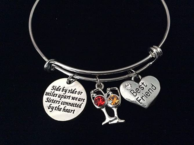 7c679da2cbe08 Sisters Best Friends Connected by The Heart Expandable Charm Bracelet Wine  Silver Adjustable Bangle Trendy Gift