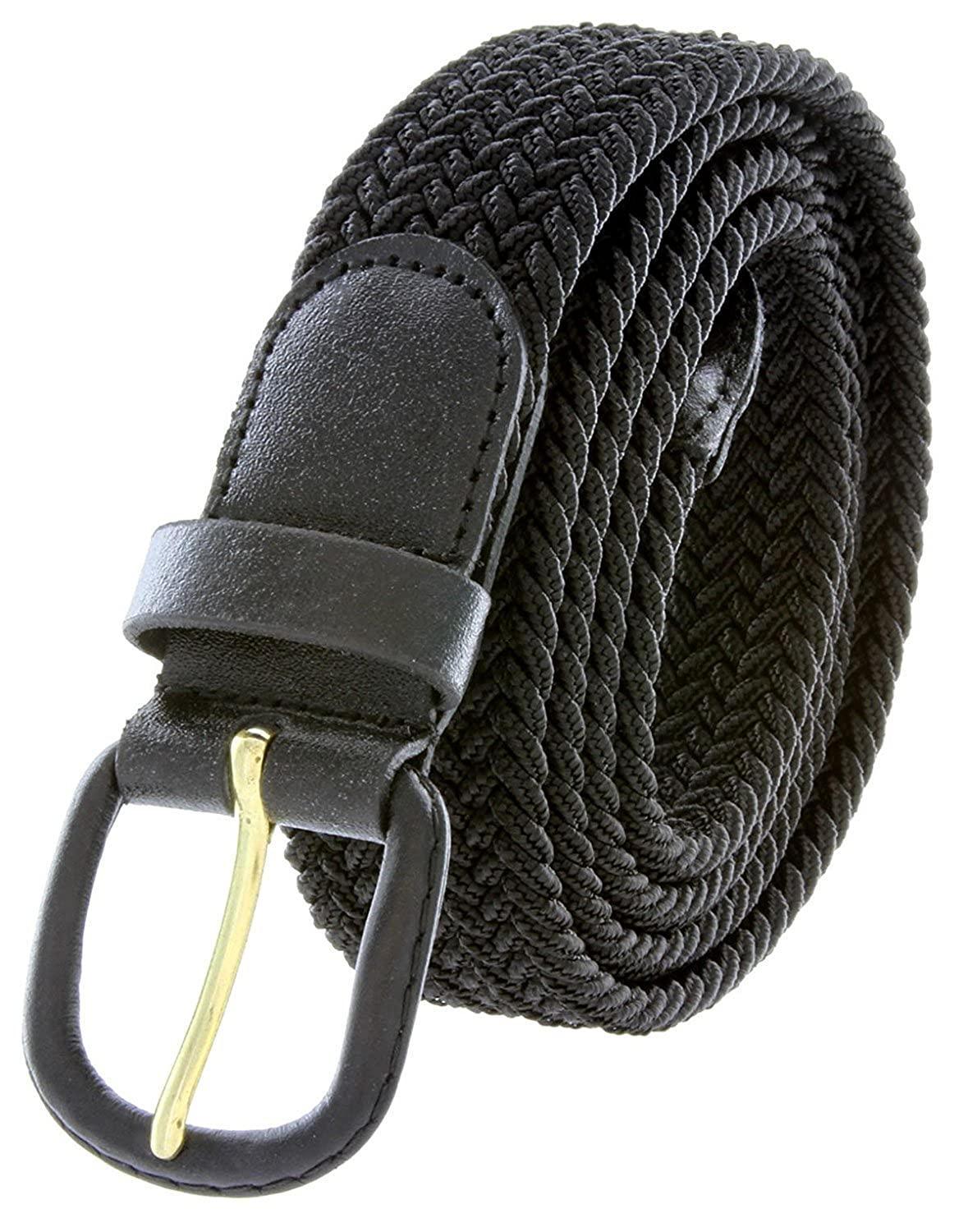 Hagora Men Stretch Comfy Braided Fabric 1-1//4 Wide Leather Covered Buckle Belt