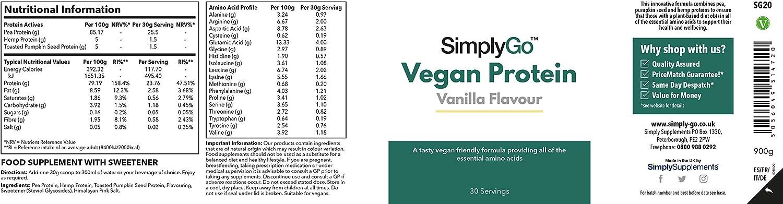 Proteína Vegana SimplyGo Sabor Vainilla - ¡30 Raciones! - Apto para veganos - 900gr - SimplySupplements