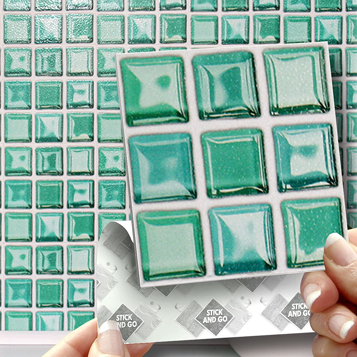 18 GLASS MOSAIC EFFECT WALL TILES - 2mm Thick and solid Self ...