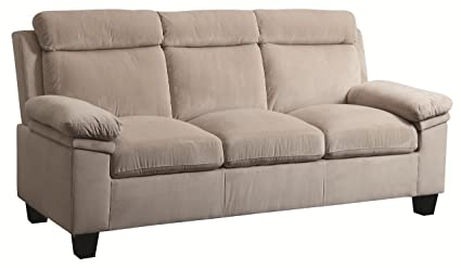Amazon.com: Coaster Home Furnishings Casual Sofa, Beige ...