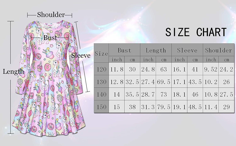 JESKIDS Little Girls Long Sleeve Dress Tie Dye//Unicorn//Flamingo Dress Twirl Swing Party Dresses with Pockets