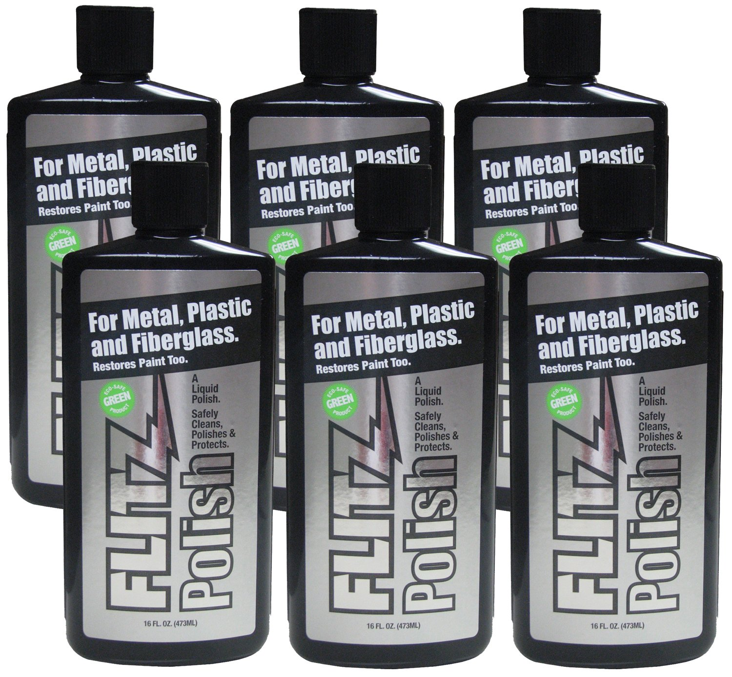 Flitz LQ 04506 Green Metal, Plastic and Fiberglass Polish Liquid, 16 oz. Bottle