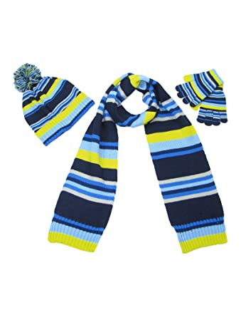 8b035334a944e Boys hat scarf and gloves set - Bobble hat scarves glove sets for boy -  Blue Yellow Navy Children knitted stripes scarfs -Age 7-8 years   Amazon.co.uk  ...