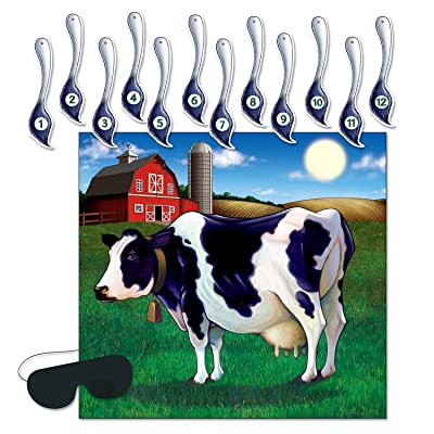 Beistle Pin the Tail on the Cow Game | 14-Pcs Game | 1-Pack: Kitchen & Dining