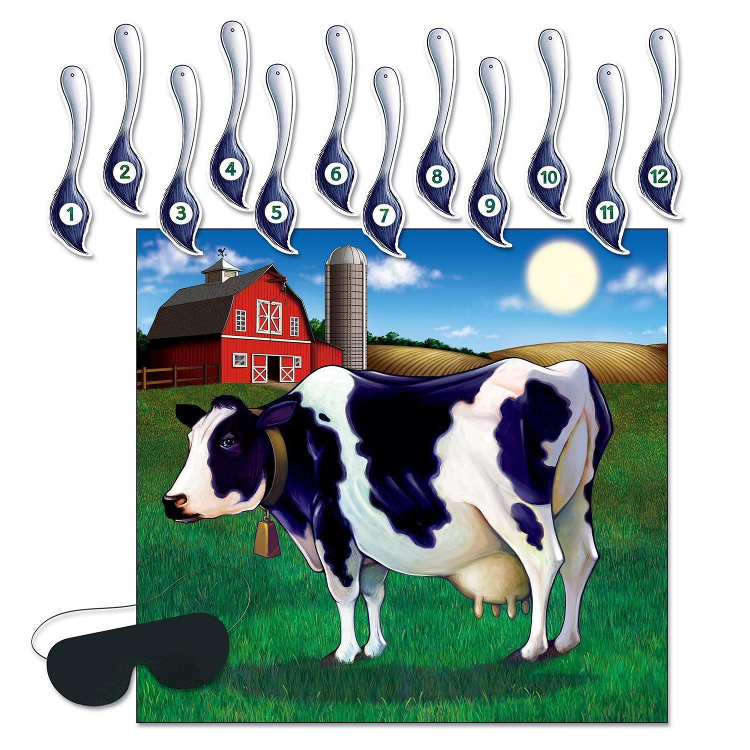 Beistle Pin the Tail on the Cow Game | 14-Pcs Game | 1-Pack