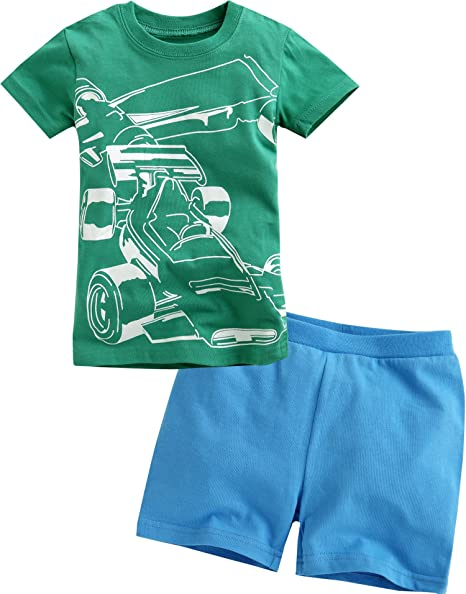 Vaenait baby Kids Boys 2 Pieces Shortsleeve Top and Shorts Outfits Set Boat