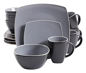 Gibson Overseas, Inc. Gibson Home 102266.16RM Soho Lounge Square 16-Piece Dinnerware Set Service of 4, Stoneware, Grey, Dinnware