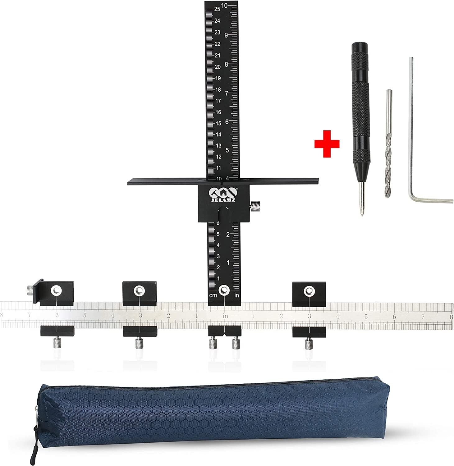 Fastest And Most Accurate Knob Pull Jig Wood Drilling Guide Sleeve Templates Tool Cabinet Hardware Jig Aluminum Alloy for Drawer Knobs Handles Inch Metric Measurement