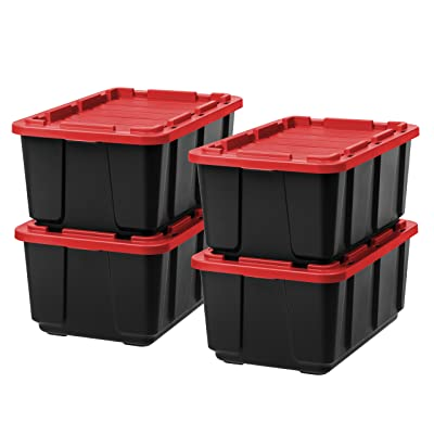 IRIS USA 589092 27 Gallon Utility Tough Tote, 4 Pack, Black/Red, 4 Piece: Home & Kitchen