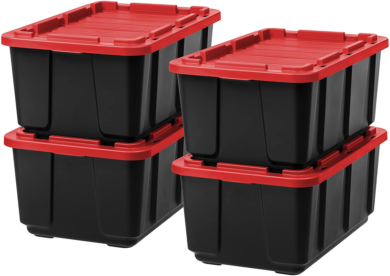 IRIS USA 589092 27 Gallon Utility Tough Tote, 4 Pack, Black/Red, 4 Piece
