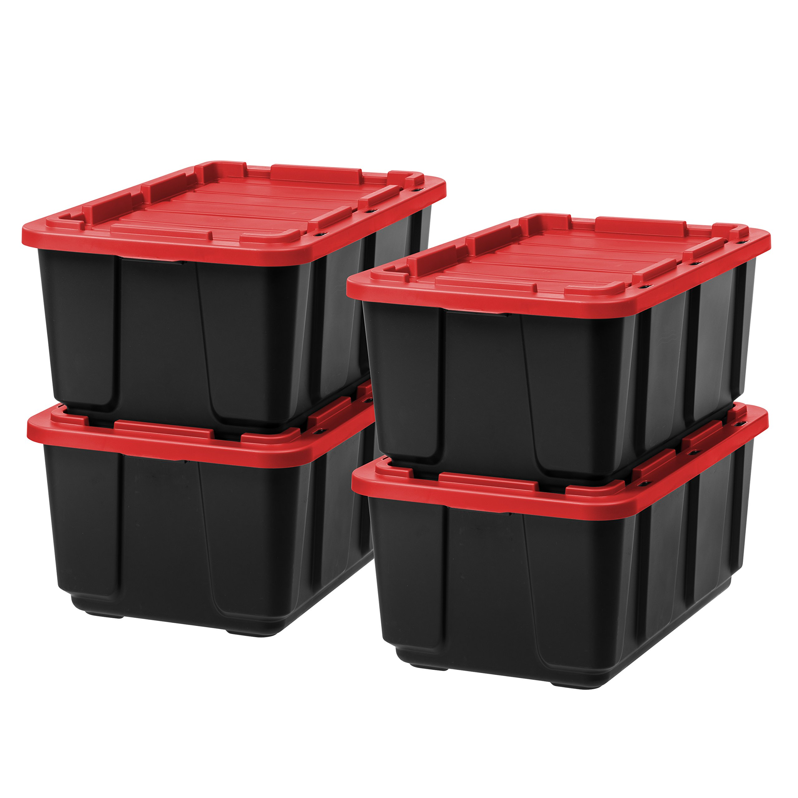 IRIS 27 Gallon Utility Tough Tote, 4 Pack, Black with Red Lid by IRIS USA, Inc.